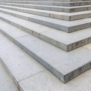 Close up shot of outdoor wide stone stairs