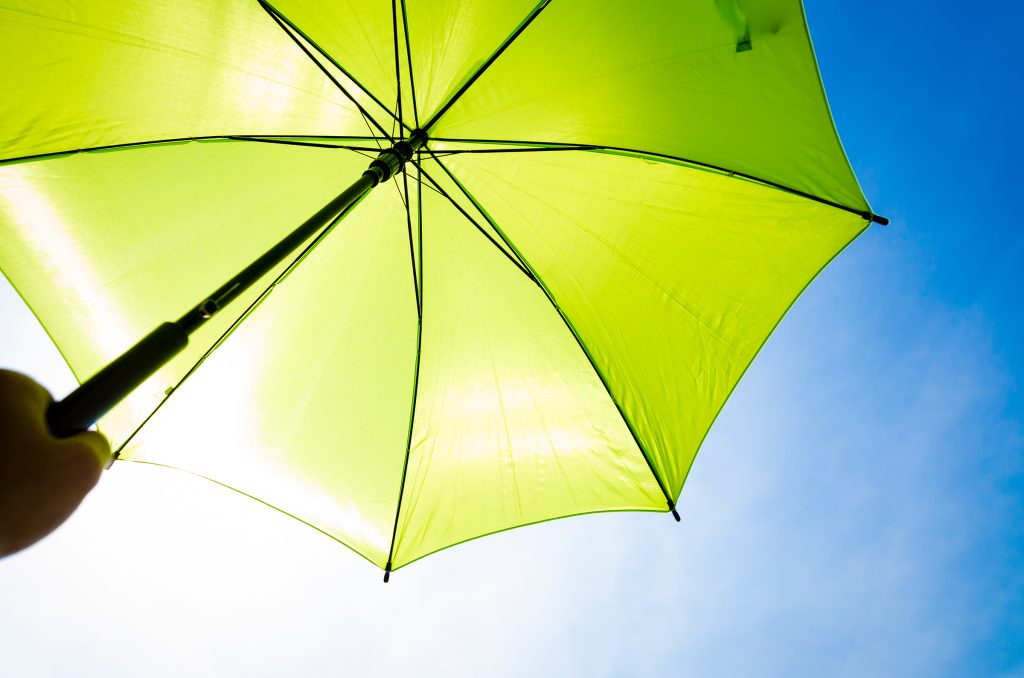 Underside of a bright protective green umbrella and blue sky in the background