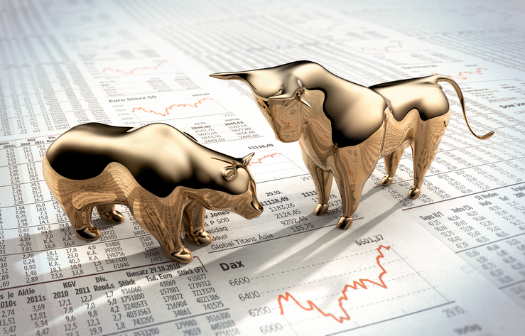 Stock market papers with two gold bulls, spreading risk has always made sense