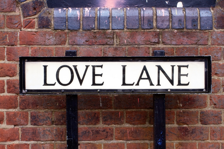 Love Lane street sign, happy street name equates to more valuable home