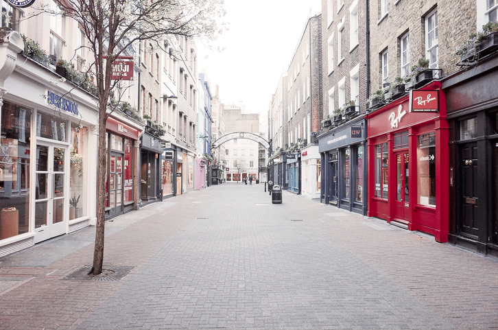An empty high street, UK recovery slows