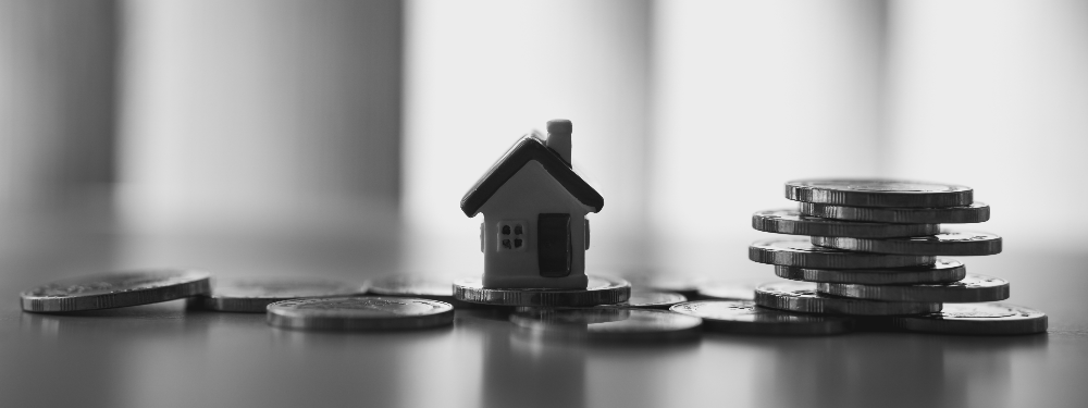 Miniature house on stack coins using as property and financial concept - Black and white filter