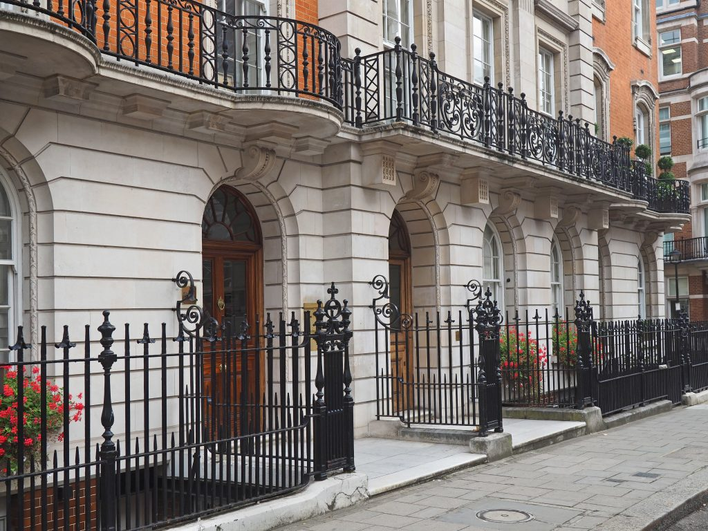 London, elegant apartment building near Mayfair