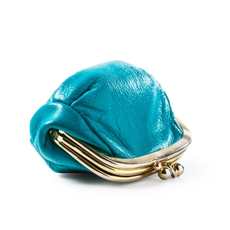Blue coin purse, kiss cash goodbye