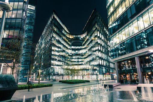 London modern office building lit at night