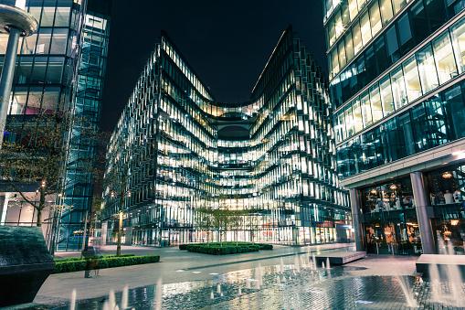 London modern office building lit at night