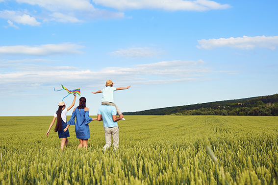 A family walk happily through a sunny field, a spring in their step due to the vaccine.