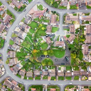 Aerial view of traditional housing estate in England.