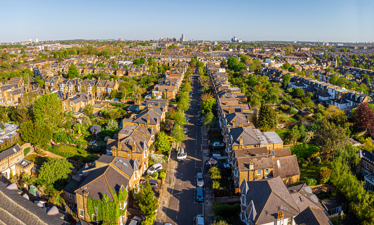 Aerial view of London suburb in the morning