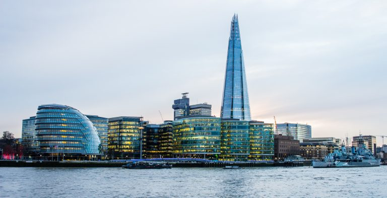 View of the financial district in London, indicating stock markets and finances